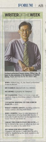 Wilfred Ling - Straits Times Forum Writer of the Week