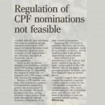 Regulation of CPF nominations not feasible