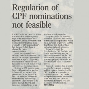 regulation of cpf nomination not feasible
