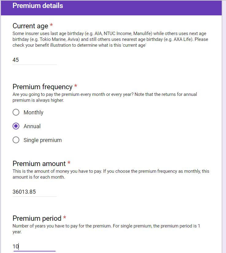 Retirement Product's Premium Details