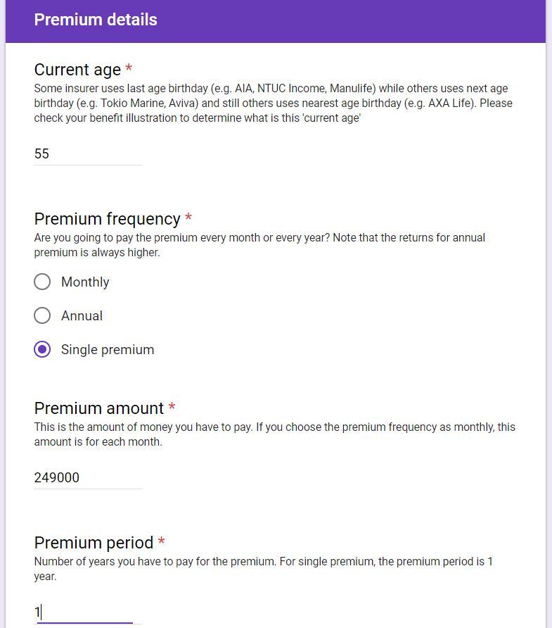 CPF Life Standard Premium Details
