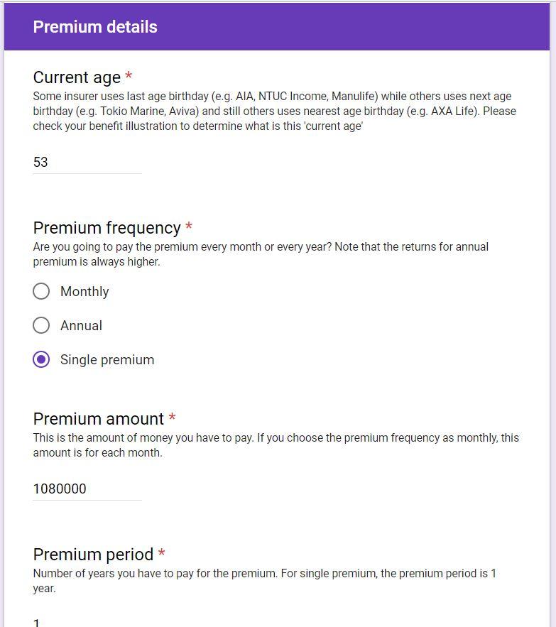 Universal Life premium details